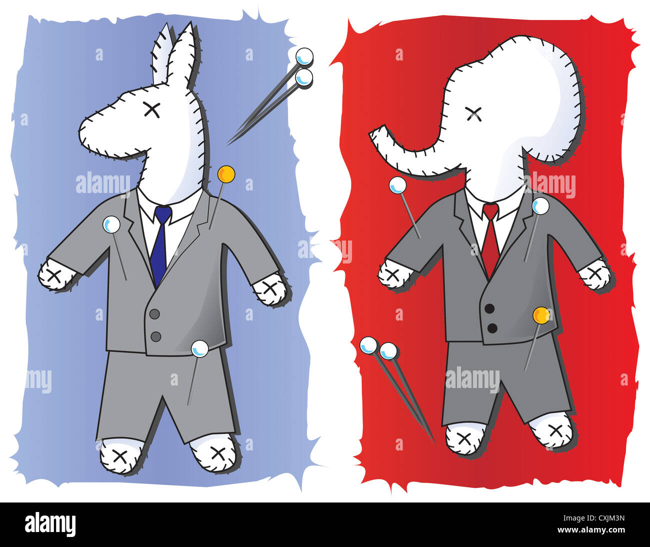 Concept drawing of  Political Voodoo Dolls in the Shape of the Democratic Donkey and Republican Elephants - Stock Image