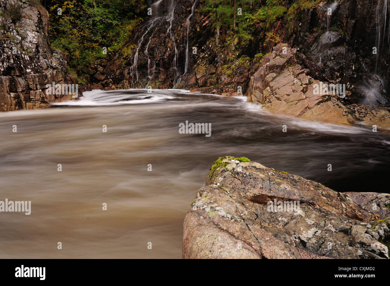 Swirling water and waterfalls on the River Etive, Glen Etive, Scottish Highlands - Stock Image