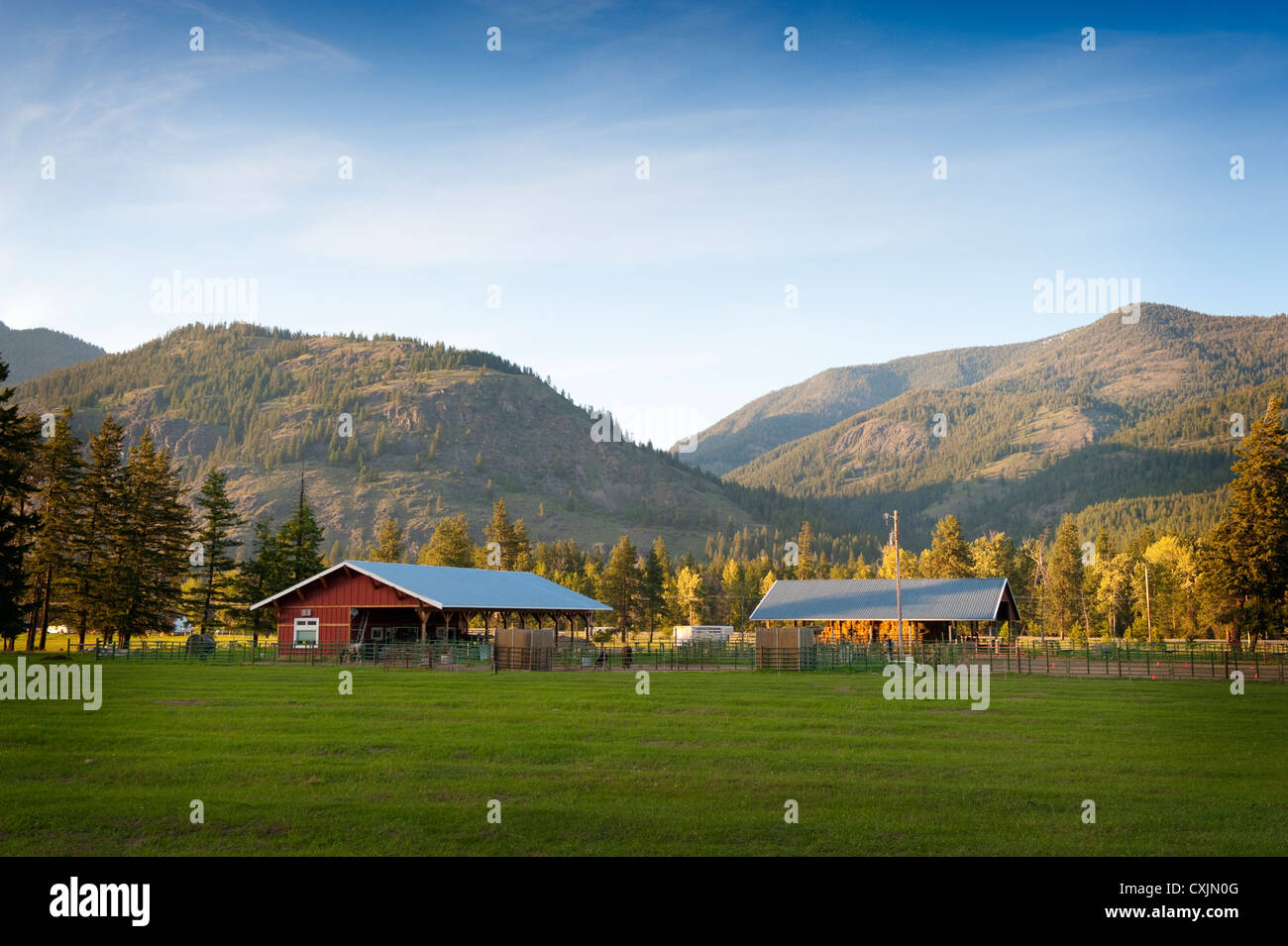 A Western Horse Ranch Nestled In The Hills Of The North Cascade Stock Photo Alamy