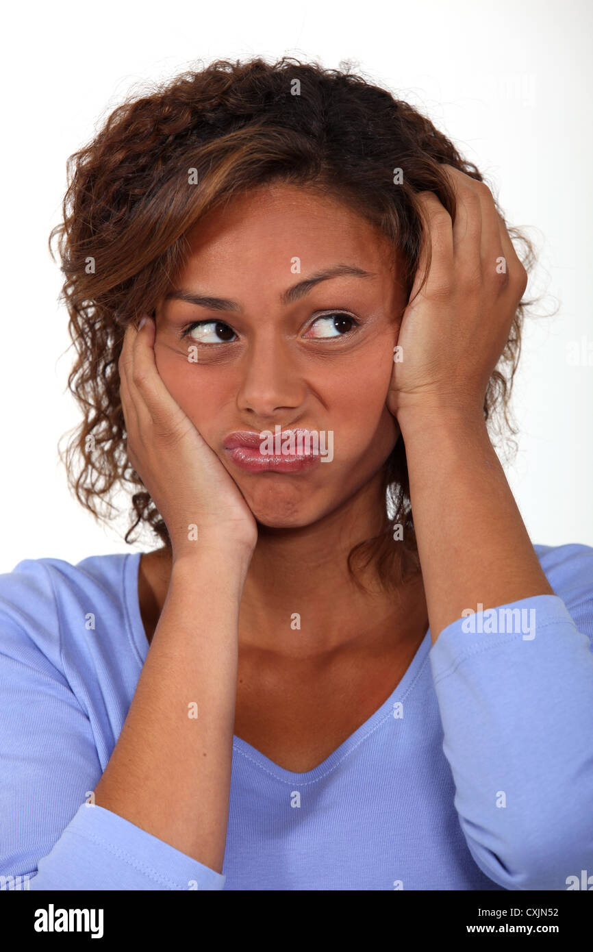 Woman in a rut Stock Photo