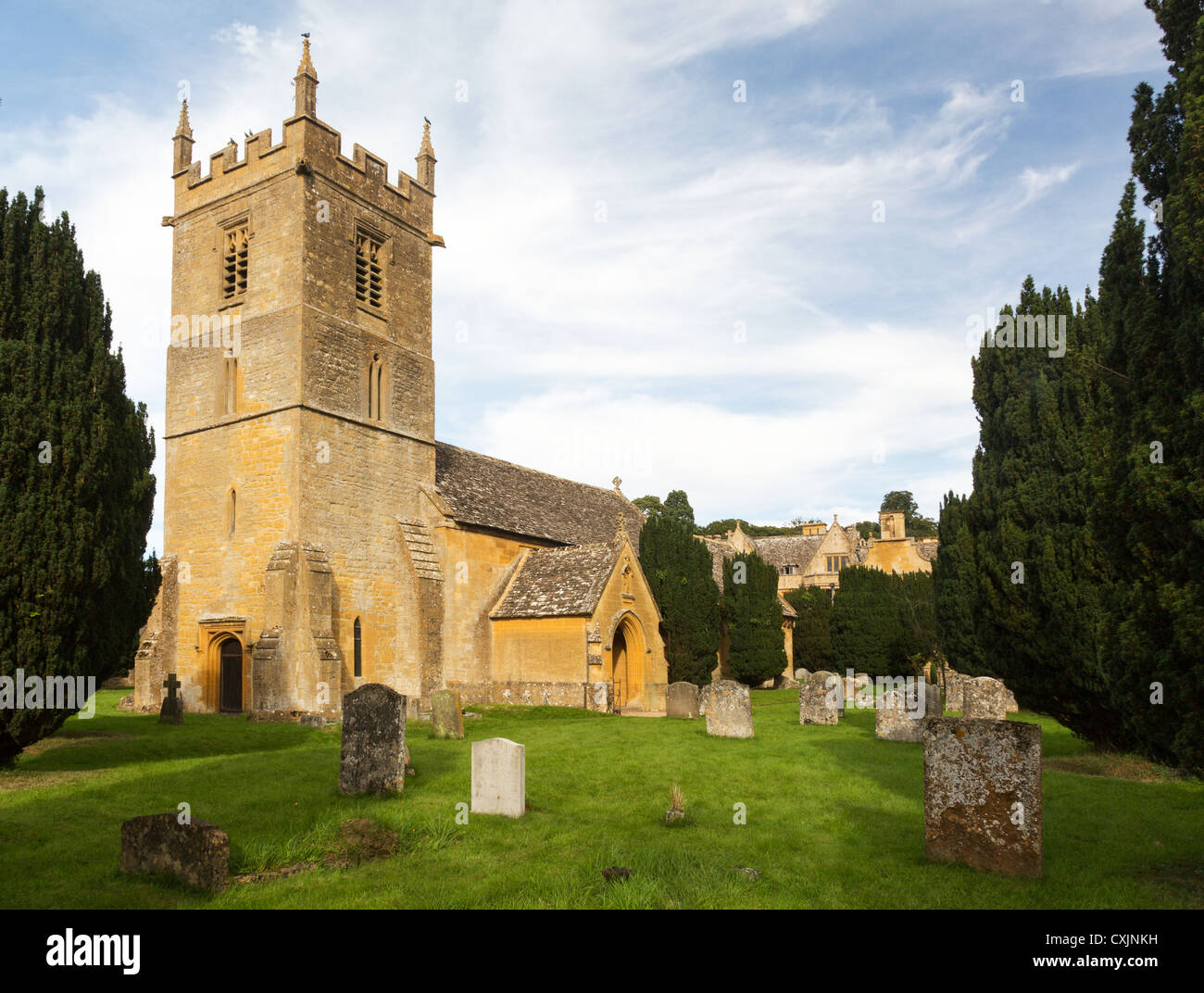 Stanway House and St Peters Church near Stanton in Cotswolds Gloucestershire England Stock Photo