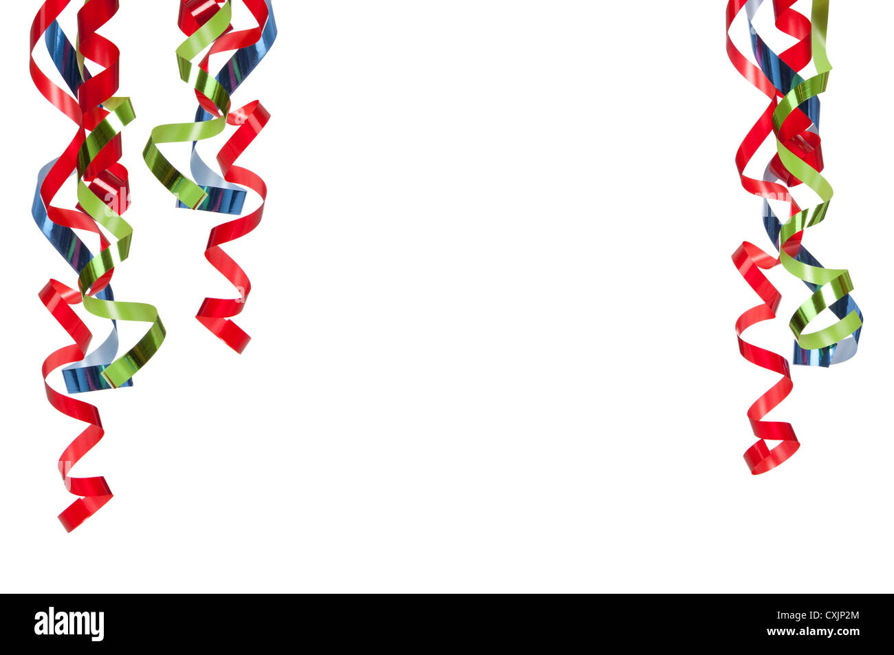 Curly Christmas ribbon on a white background with copy space - Stock Image