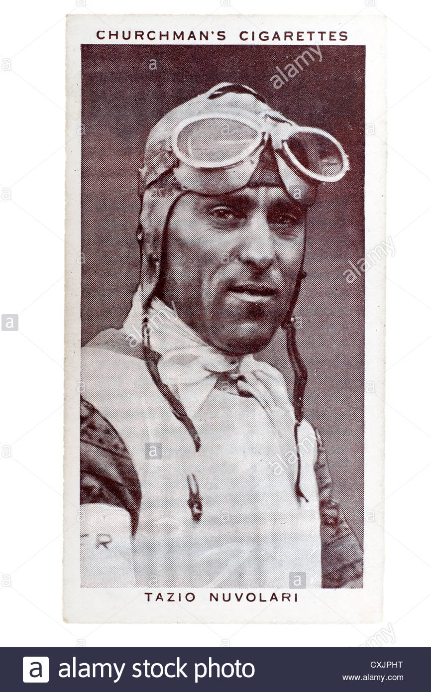 Churchman Kings of Speed Series cigarette card from 1939:   Tazio Nuvolari, Italian motor racing  driver.  Editorial Stock Photo