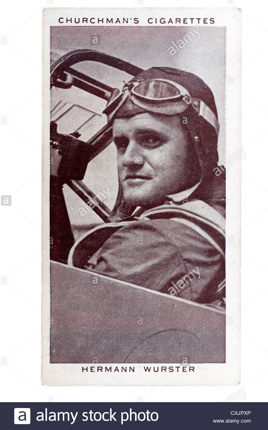Churchman Kings of Speed Series cigarette card from 1939:  Hermann Wurster, pilot and aeronautical engineer.   Editorial - Stock Image