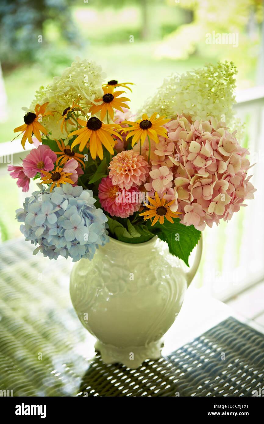 Fresh Cut Flowers in Vase, Bradford, Ontario, Canada Stock Photo