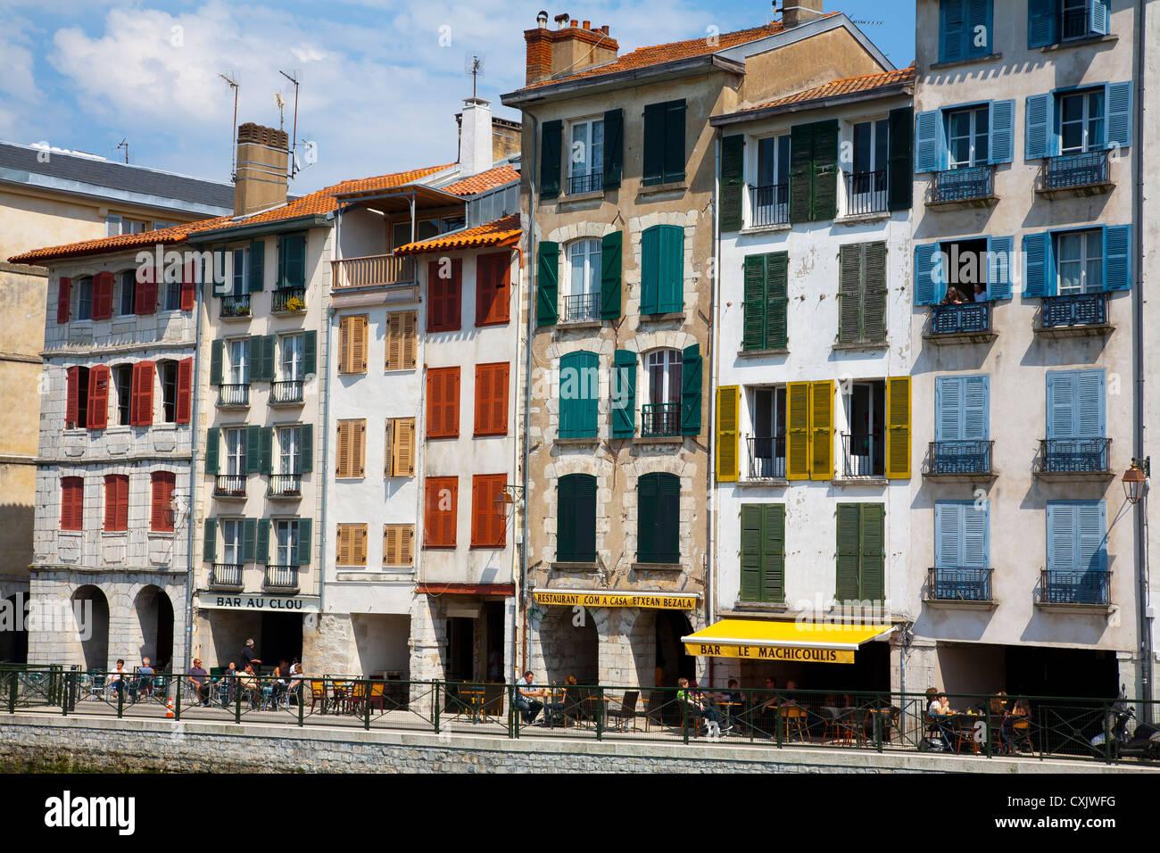 Facades in Petit Bayonne. Bayonne. Pyrénées-Atlantiques, France. - Stock Image