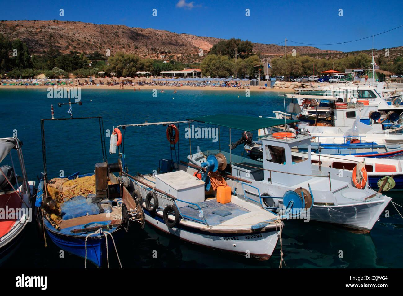 Greece Crete Chania Akrotiri Marathi harbour - Stock Image