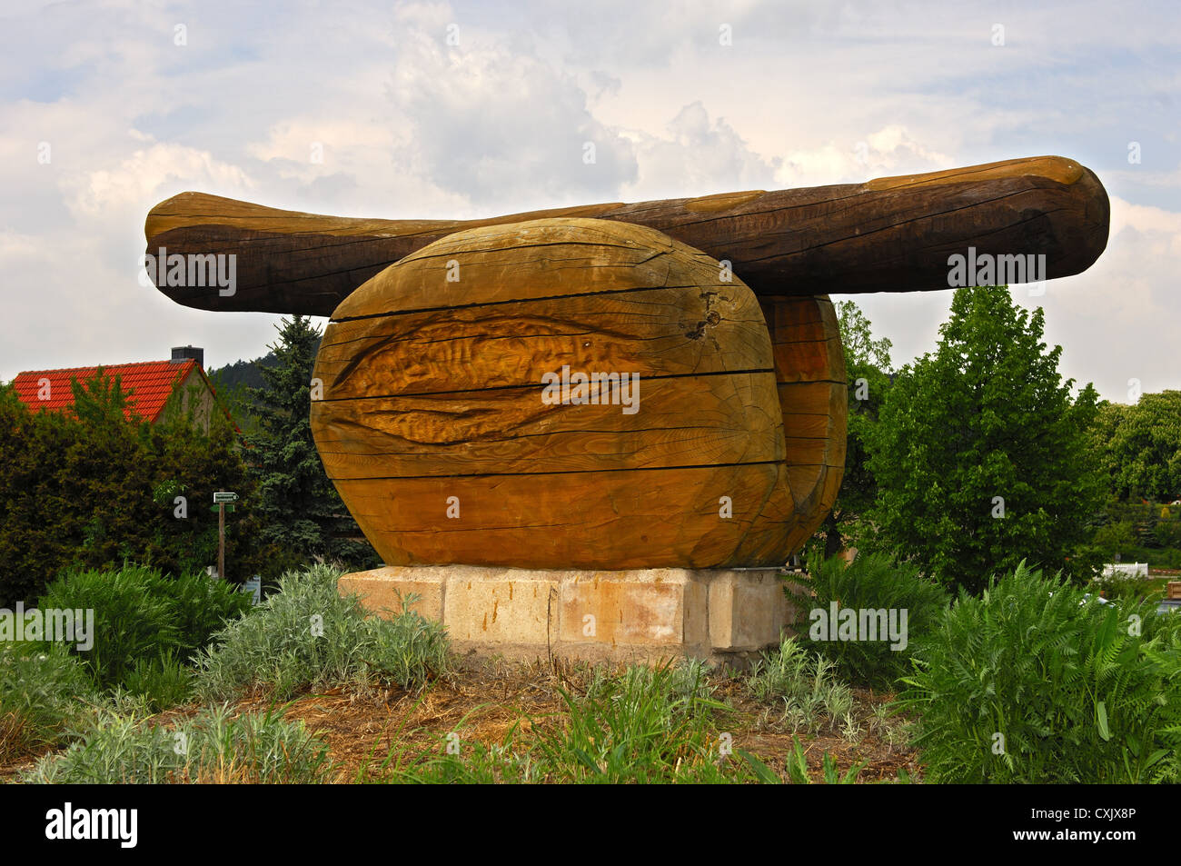 Sculpture of a fried sausage, Germany Stock Photo