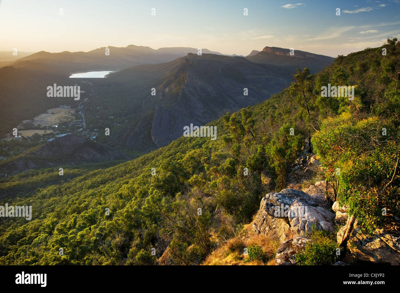 View over the Grampians and Halls Gap in morning light. - Stock Image