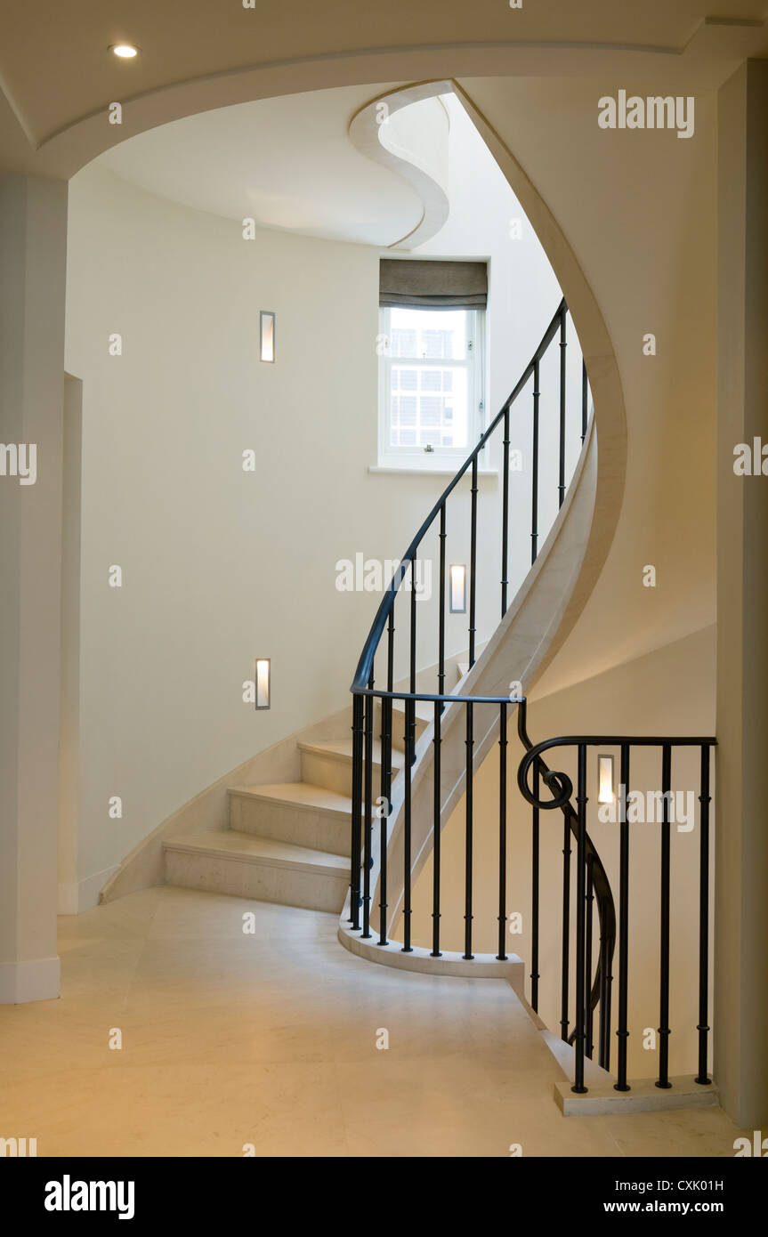Colour Day Interior Neutral Staircase Spiral Stairs Banister Wrought Iron  Metal Elegance Landing Window Architecture