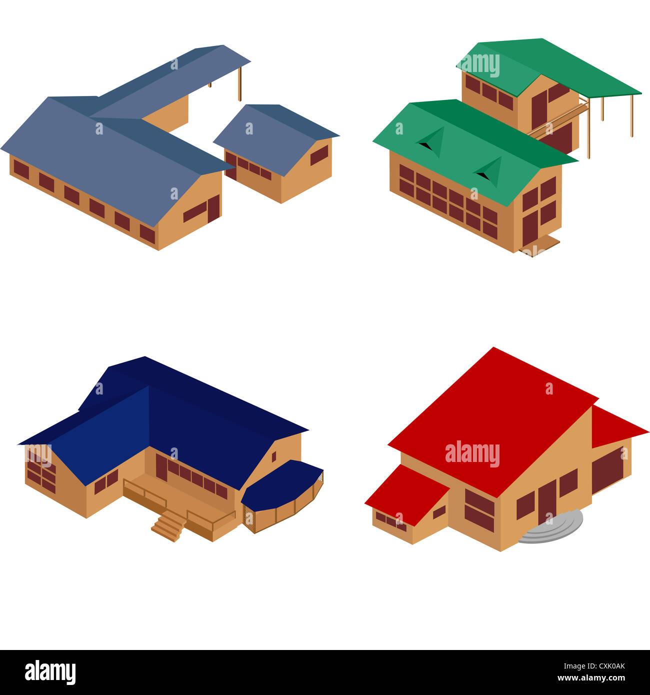 House isometric icons - Stock Image