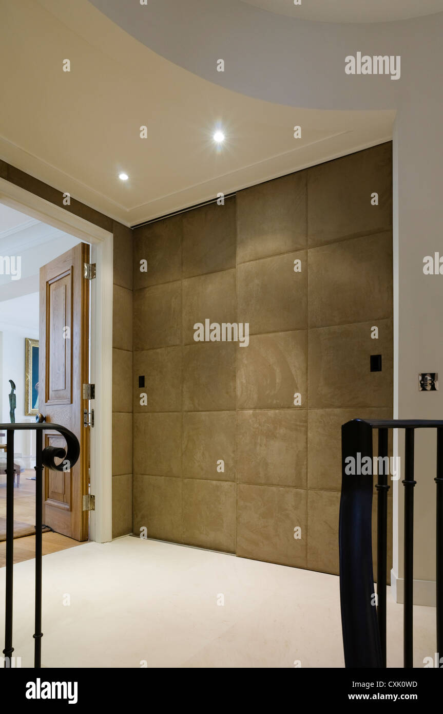 Colour Day Interior Neutral Banister Wrought Iron Landing Flooring Cream  Padded Sliding Door Hallway Open Door
