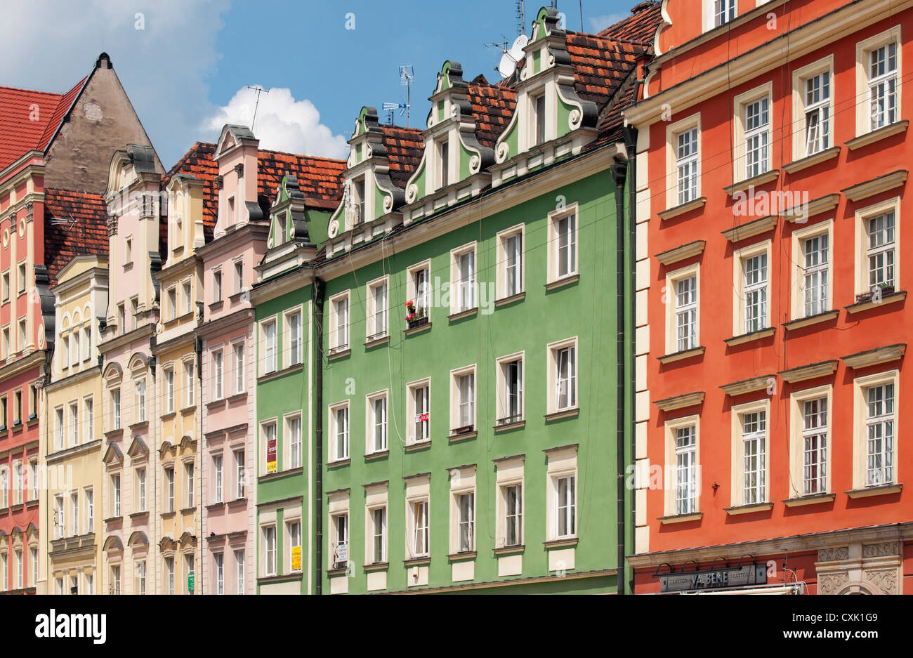 Colourful Facades of Townhouses on Rynek (Market Square) in Wroclaw, Lower Silesia, Poland  Stock Photo