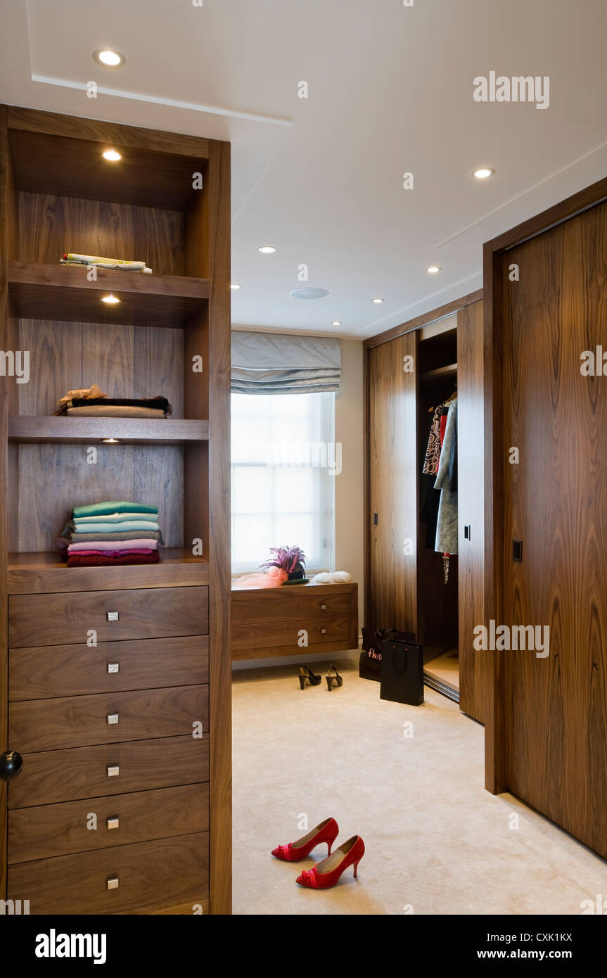 colour day interior bedroom dressing room wooden dark wood ...