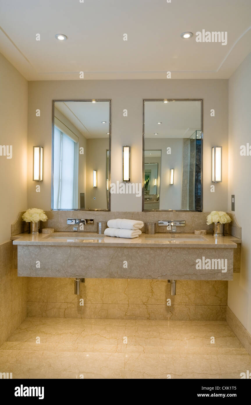 Colour Interior Bathroom Lit Light Reflection Flooring Marble - Double wall sconce bathroom