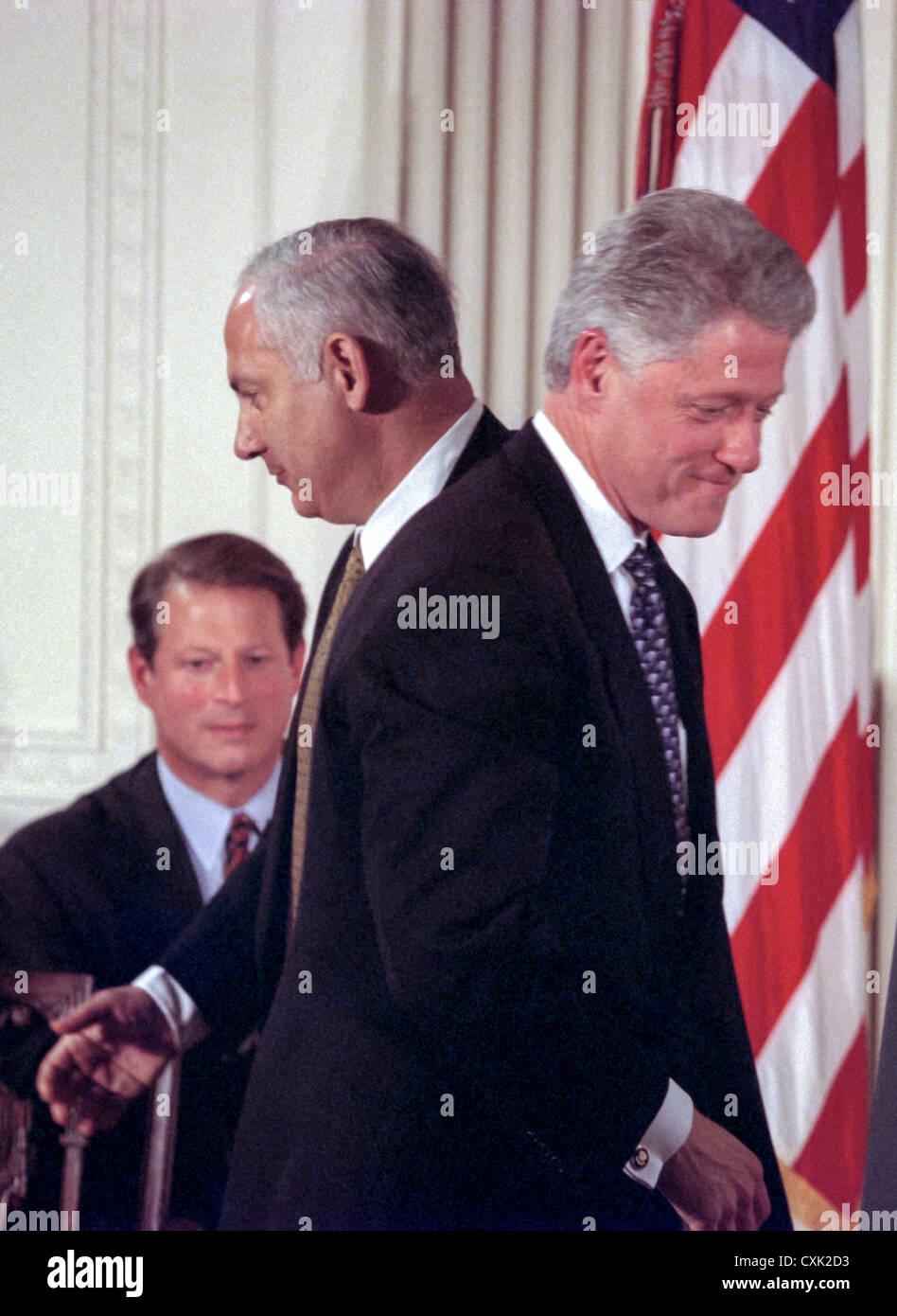 Us President Bill Clinton Passes Israel Prime Minister Benjamin