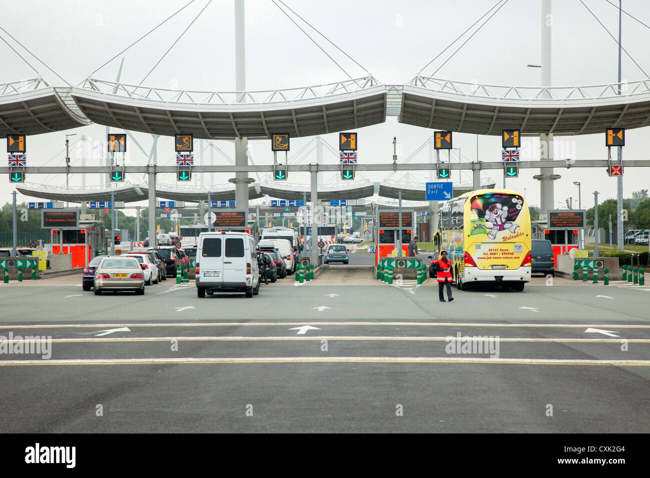 Eurotunnel incoming vehicles control at Calais, France - Stock Image