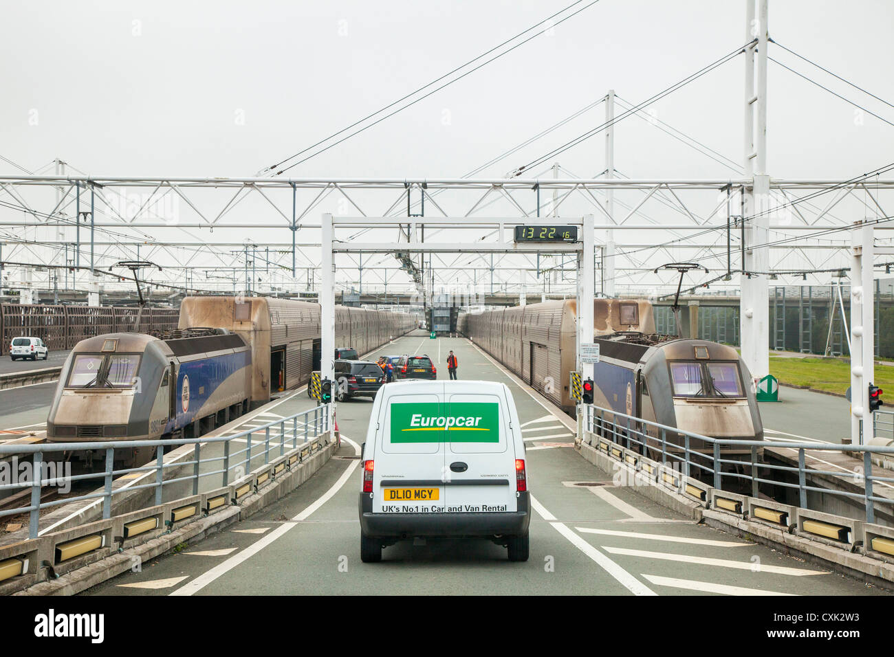 Vehicles boarding a Eurotunnel train at Folkestone, England - Stock Image