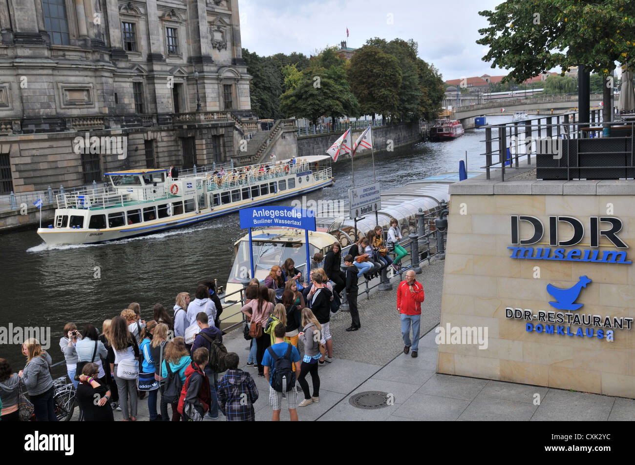 Spree river and DDR museum Berlin Germany - Stock Image