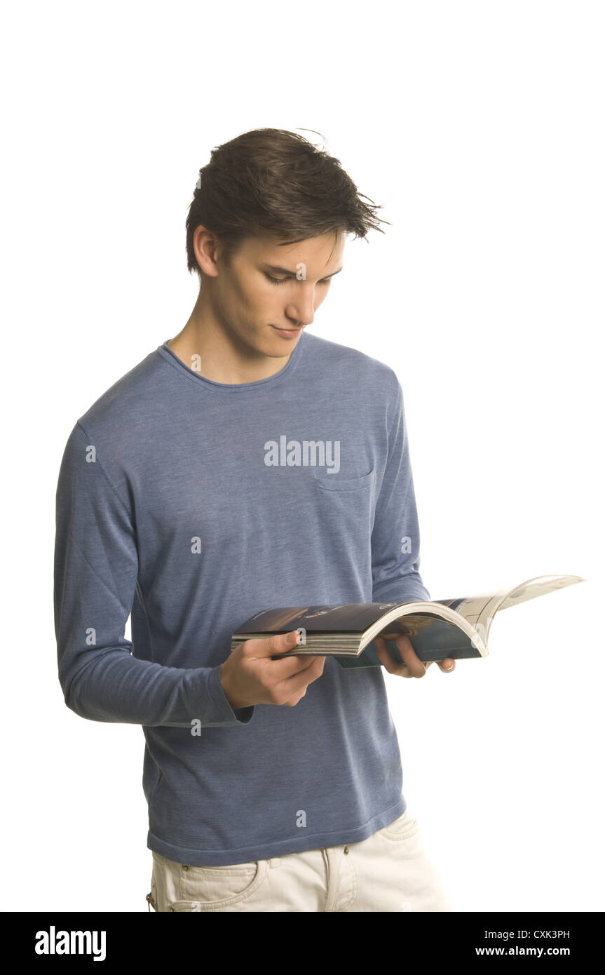 man reading a journal Stock Photo