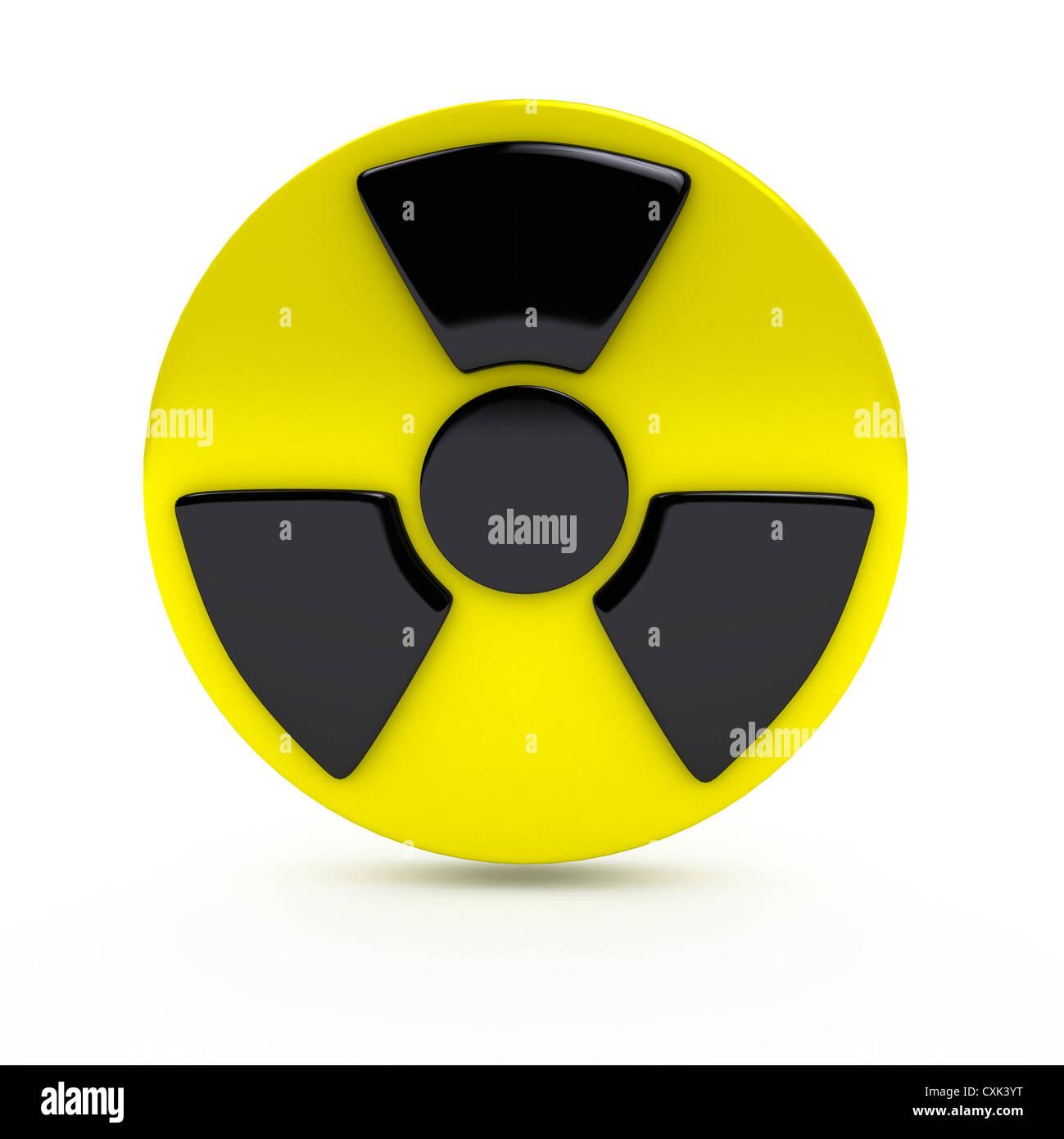 Radiation sign over white background - Stock Image