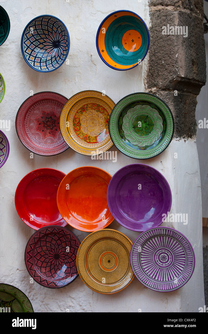 colorful handmade ceramic bowls and plates wall display Essaouira Morocco & colorful handmade ceramic bowls and plates wall display Essaouira ...