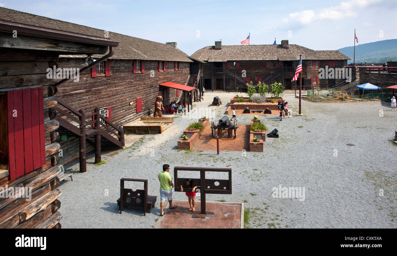 British Fort William Henry on Lake George, NY Built in 1755 during the French and Indian War in North America Stock Photo
