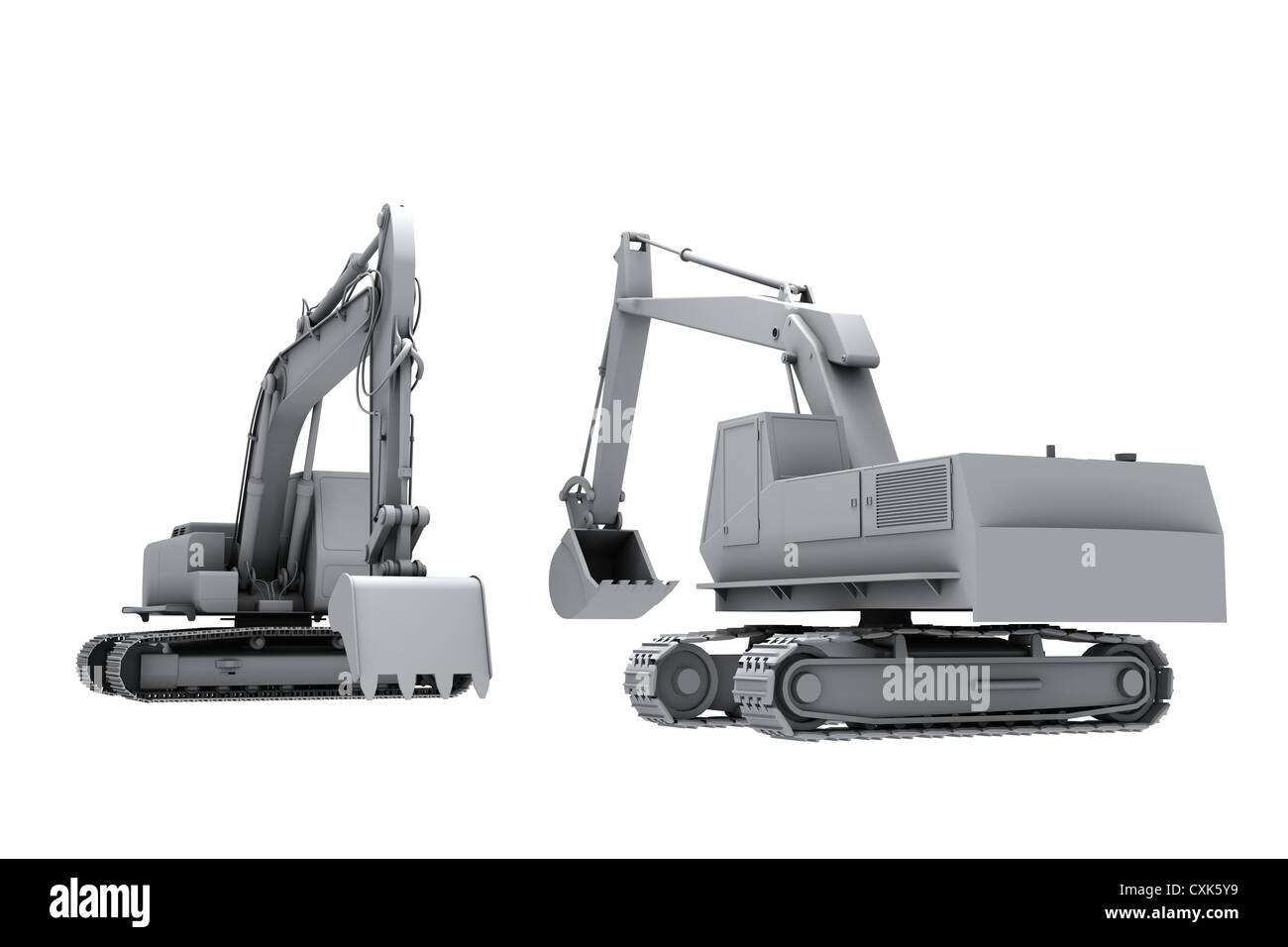 Grey model of the diggers - Stock Image