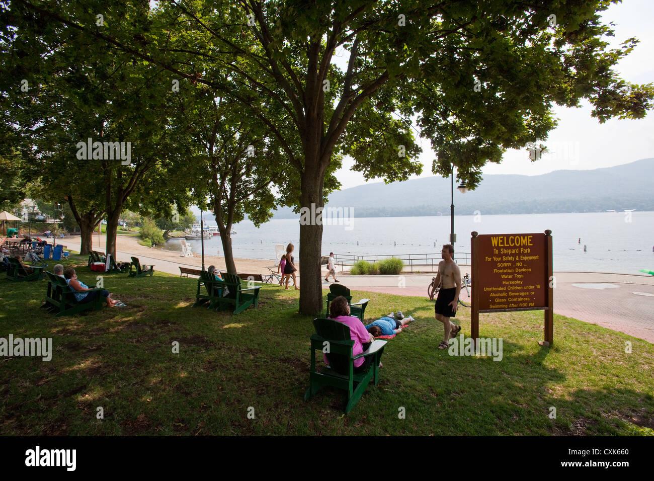 Shepard Park, Lake George, NY - Stock Image
