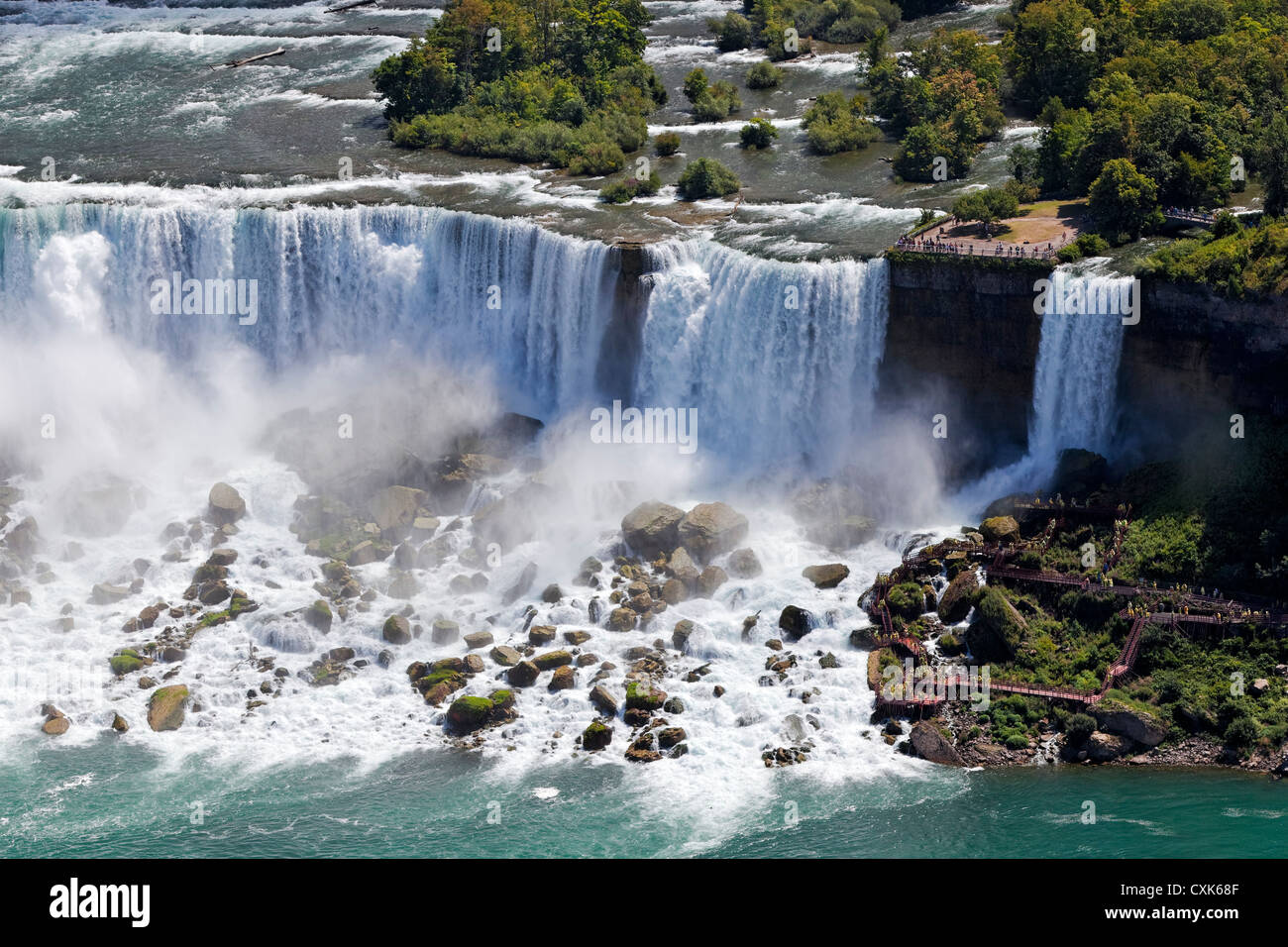Visitors at The American Falls, Niagara Falls, New York - Stock Image