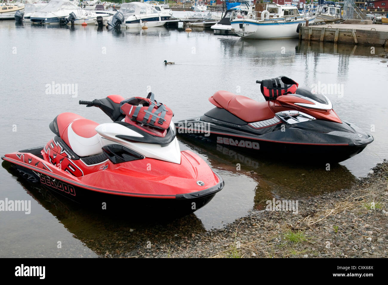 jet ski skis jetski jetskis watersports water sports bike bikes - Stock Image