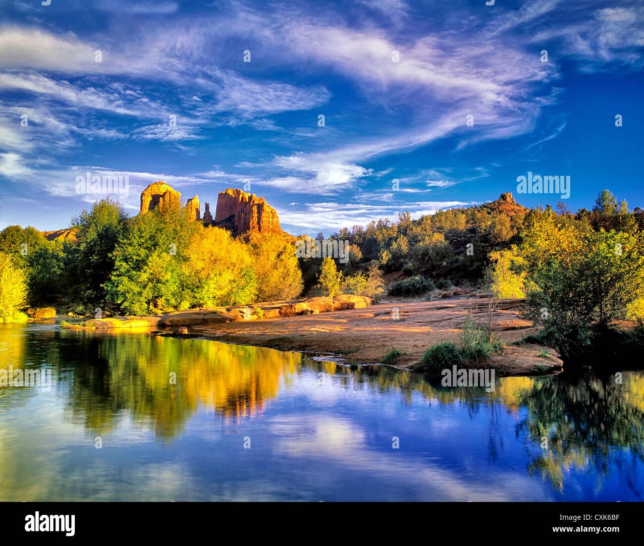 Cathedral Rock reflected in Oak Creek, Arizona - Stock Image