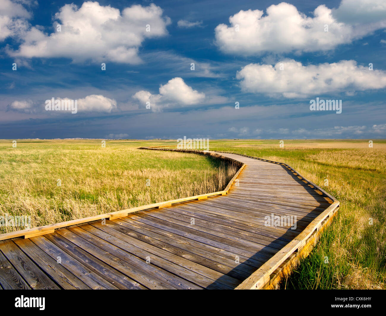 Pathway and clouds with grassland in Badlands National Park, South Dakota. Stock Photo