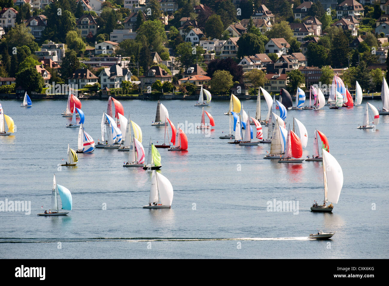 Sailing boats on lake Zurich, See, Regatta - Stock Image