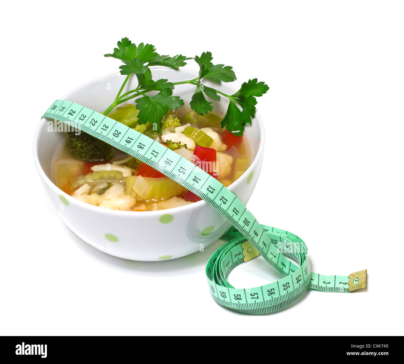Vegetable soup for weight loss on a white background - Stock Image