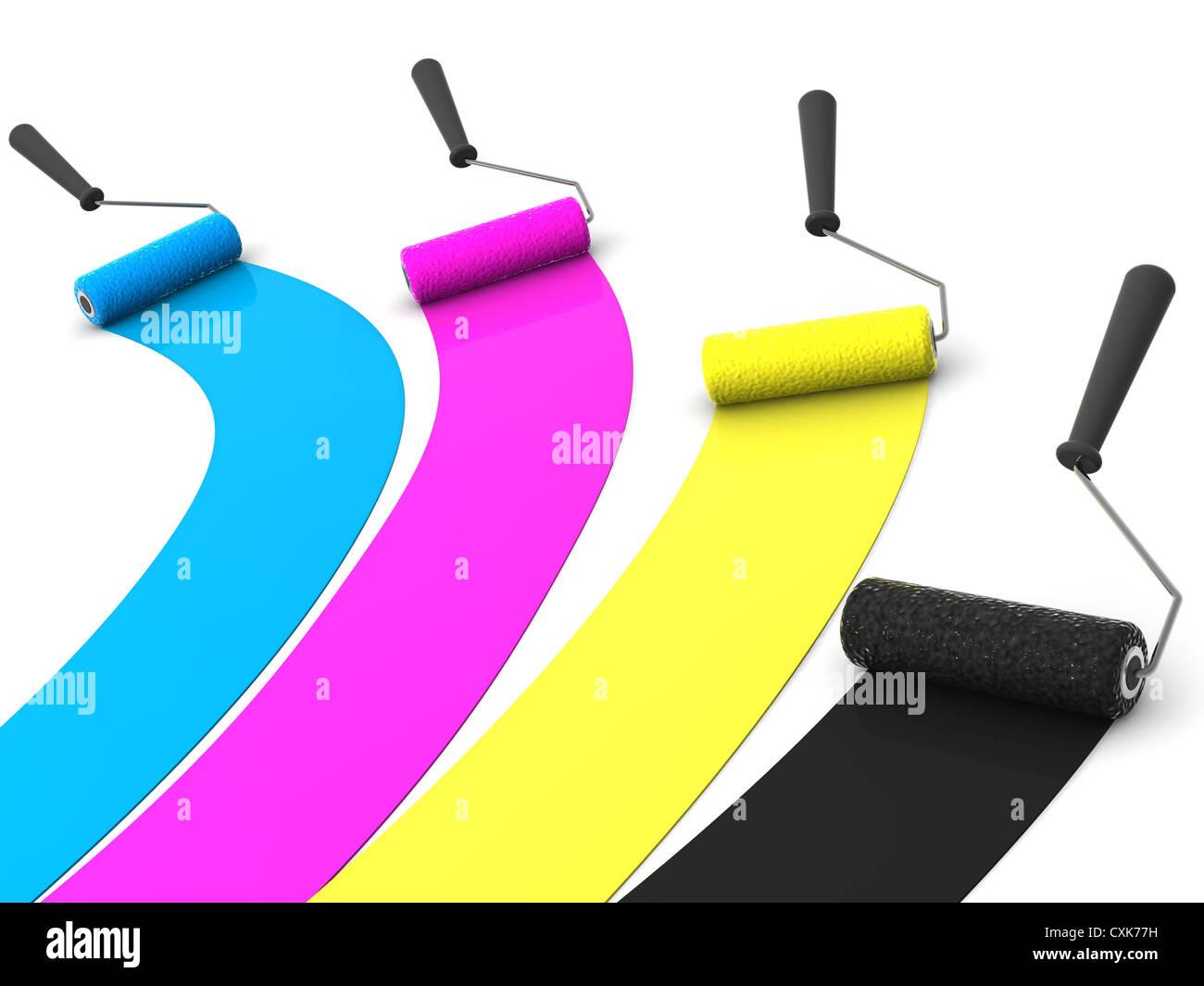 roller brush. 3d. CMYK - Stock Image