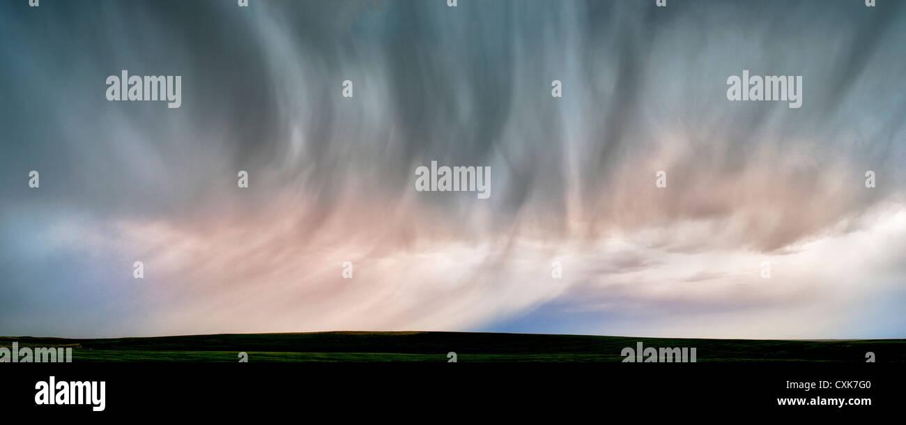 Rain from thenderstorm. Badlands National Park, South Dakota - Stock Image