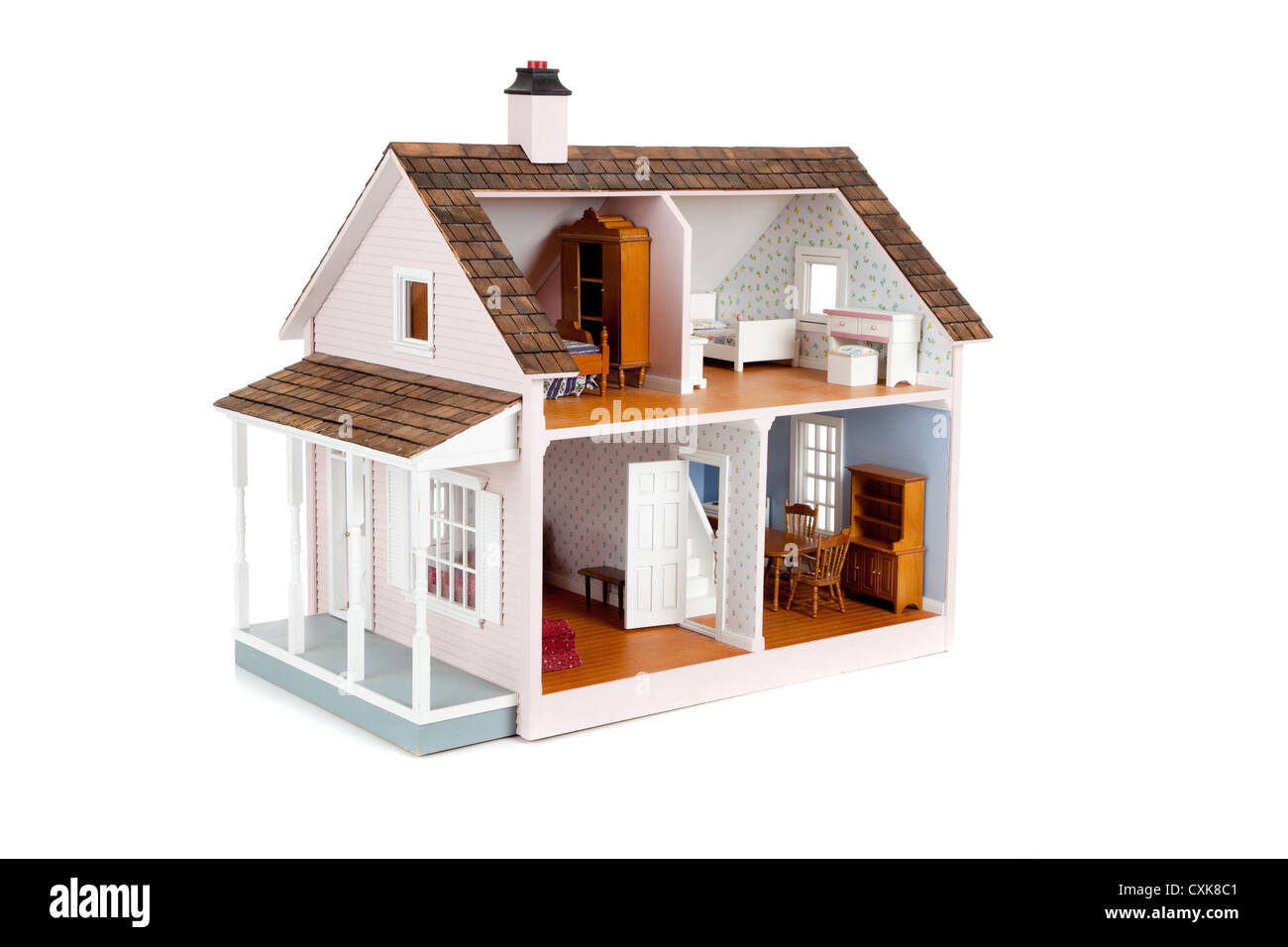 Pink Wooden Doll House On A White Background Stock Photo 50825489