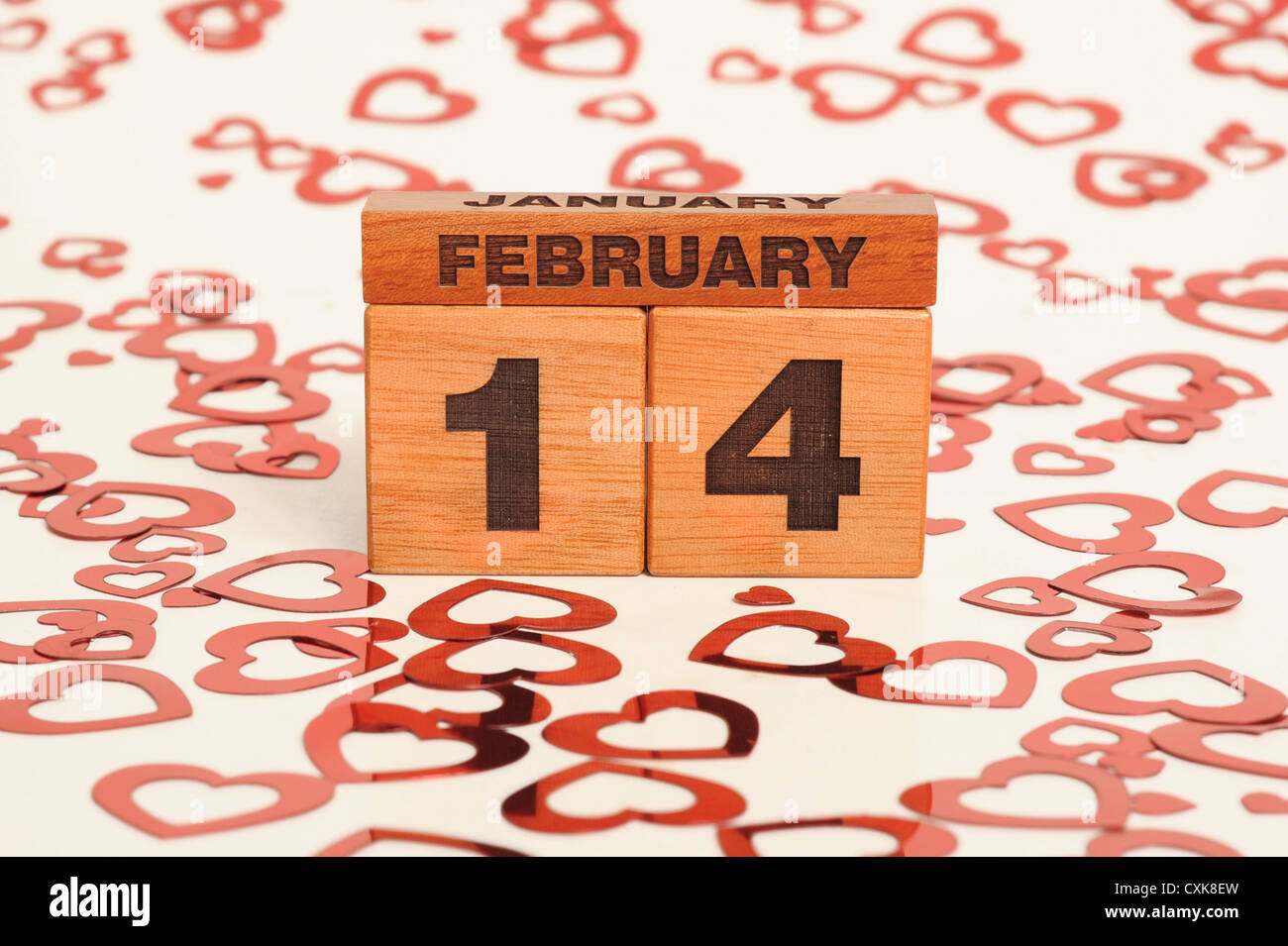 Blocks of wood giving the date of valentines day - Stock Image