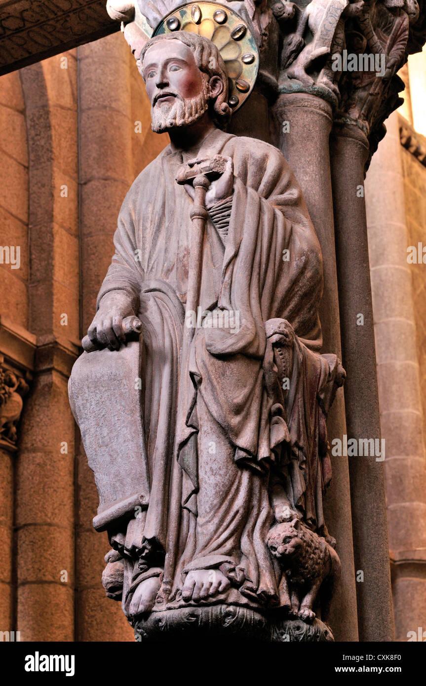 Spain, St. James Way: Apostle St. James in the Portico de la Gloria in Santiago de Compostela´s Cathedral - Stock Image