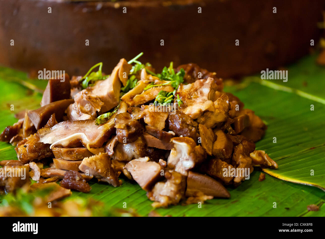 Thai Chicken Meal on the Chatuchak Market in Bangkok - Stock Image