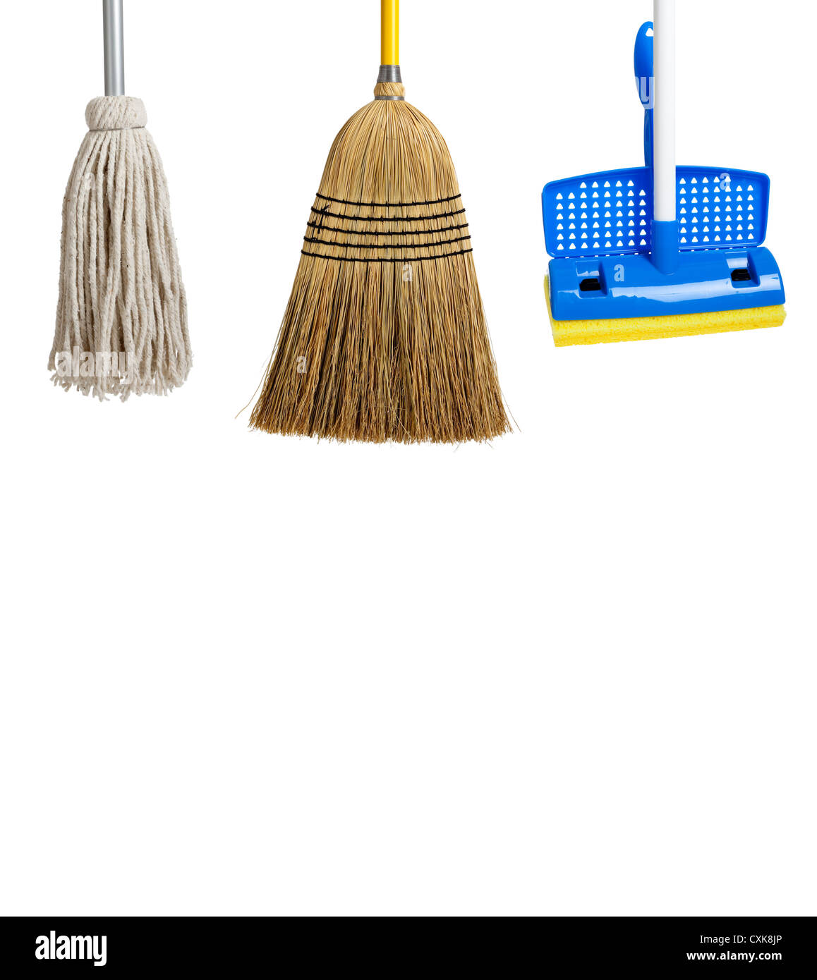 Blue and yellow sponge mop, broom and string mop on a white background - Stock Image