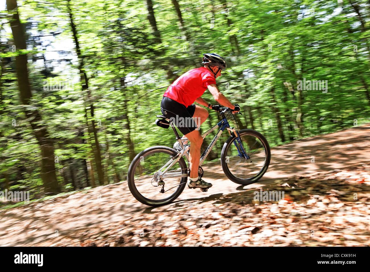 Senior with Mountain Bike Fahrrad Stock Photo