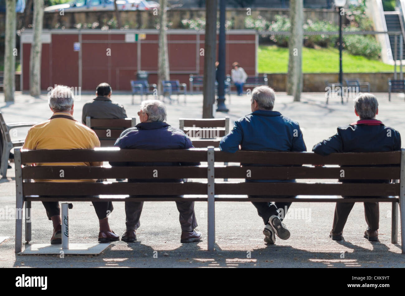 Retired people standing on the Mont Juic park of Barcelona city. Catalonia. Spain - Stock Image