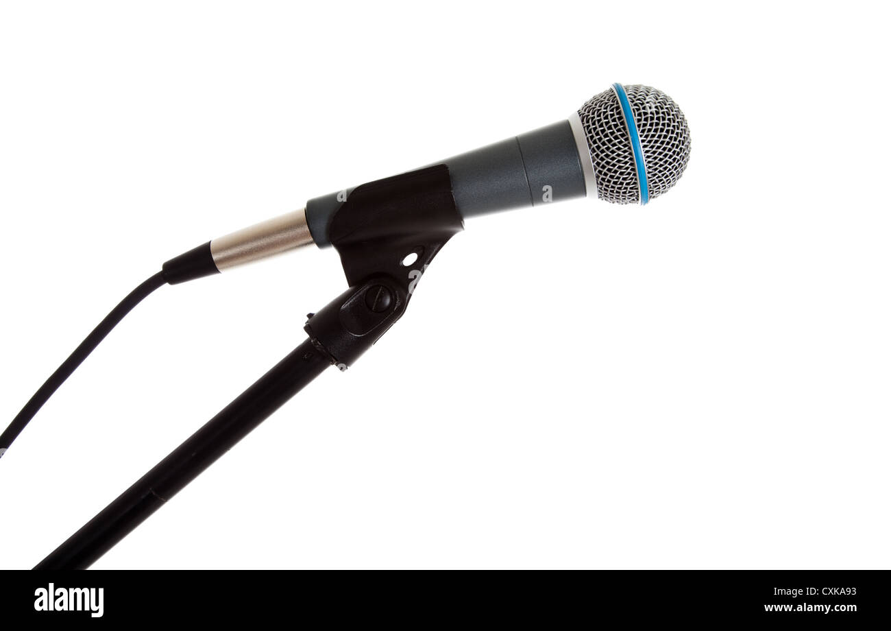 A microphone on the stand on a white background with copy space - Stock Image
