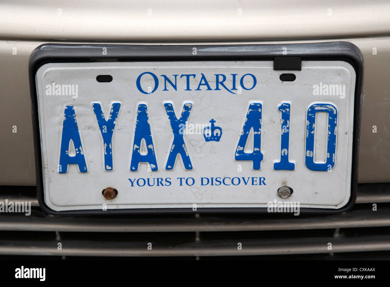 ontario yours to discover license plate canada - Stock Image