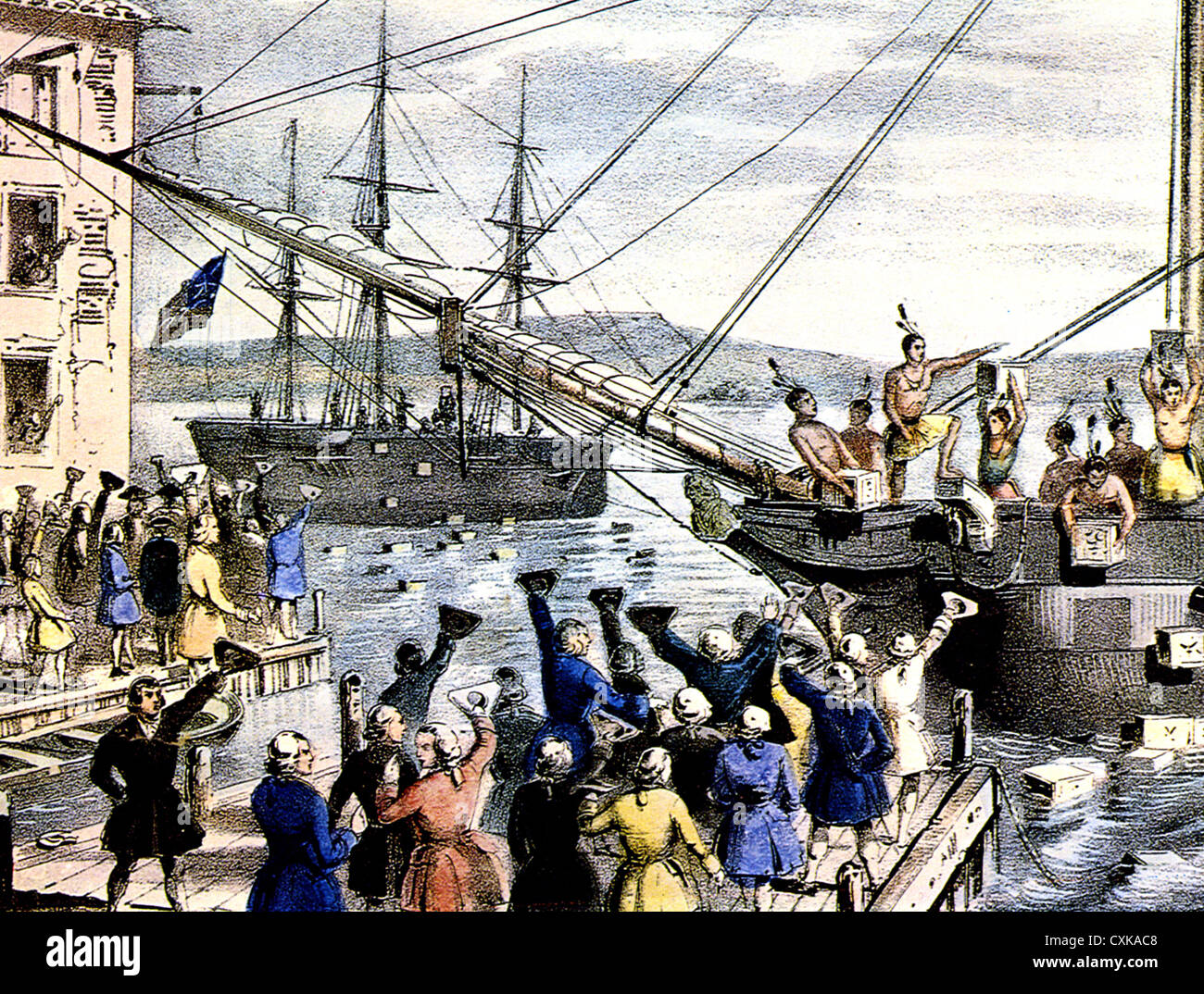 THE BOSTON TEA PARTY  An 1846 lithograph by Nathaniel Currier of the events on 16 December 1773 - Stock Image