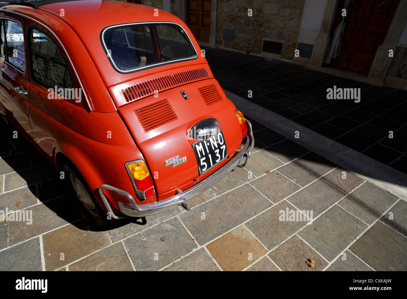 Fiat 500 parked in San Valentino Citeriore, Italy. - Stock Image