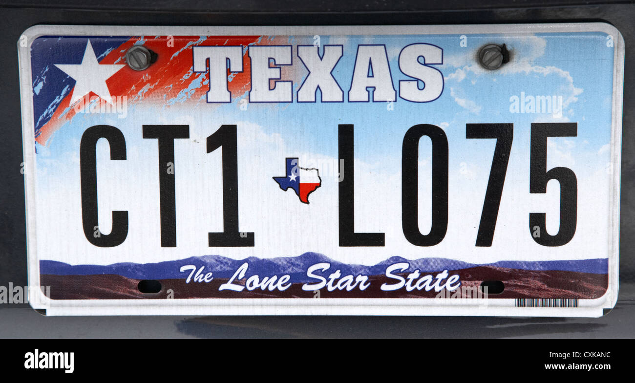 texas the lone star state license plate usa - Stock Image