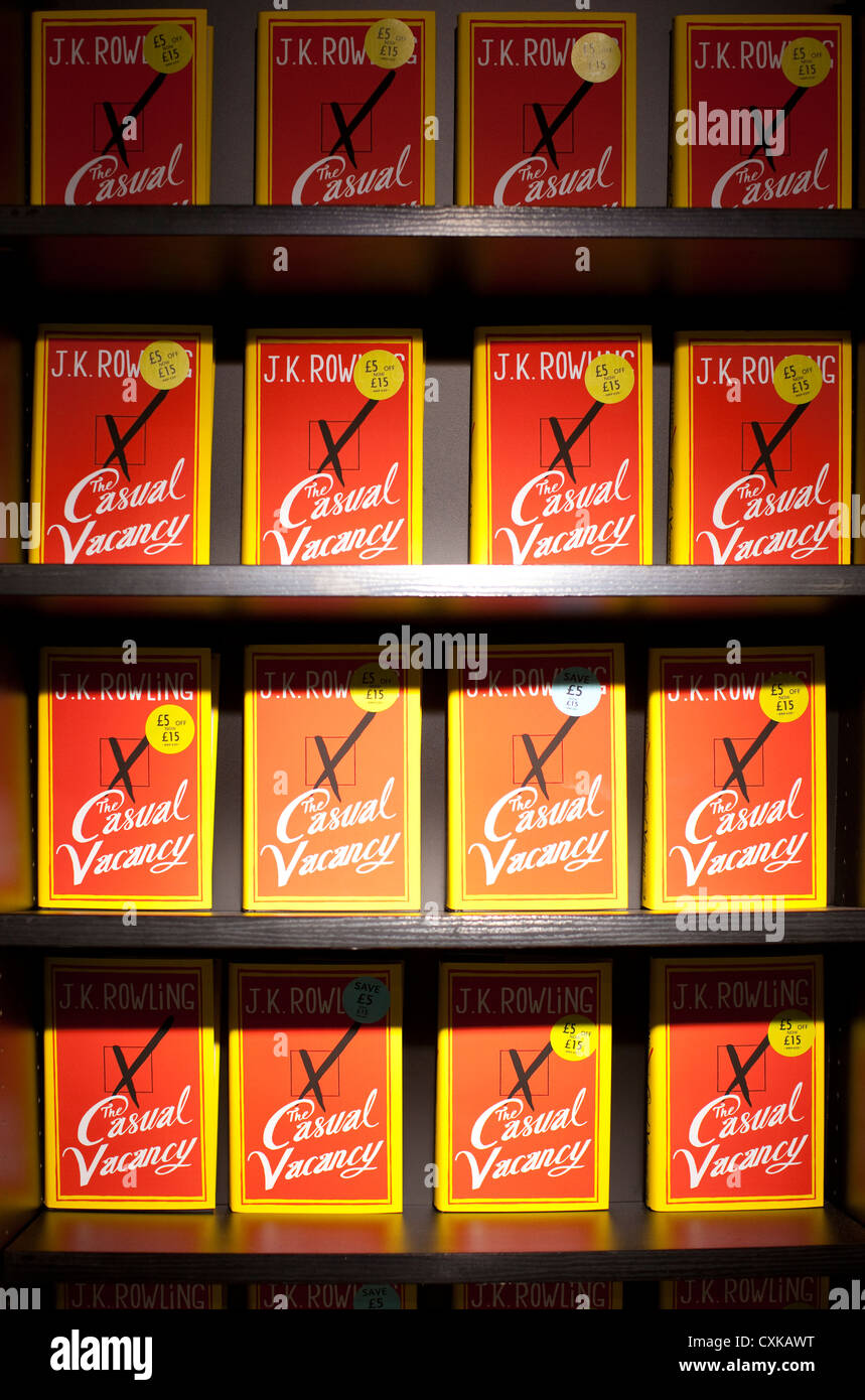 Book shelves with JK Rowling's latest novel The Casual Vacancy at a book store in England, United Kingdom - Stock Image